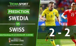 Prediksi Swedia 2 - 2 Swiss 3 Juli 2018