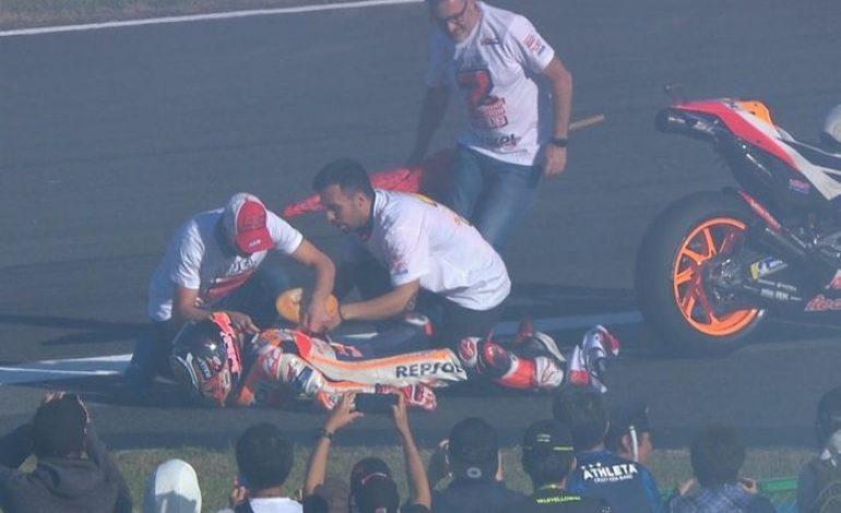Ternyata Pembalap Ini yang Bikin Marc Marquez Cedera Saat Selebrasi